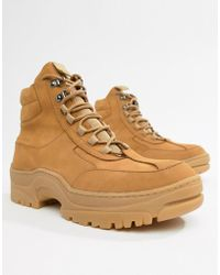ASOS - Trainer Boot In Tan Nubuck With Chunky Sole - Lyst
