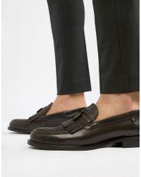 Farah - Chapman Leather Tassel Loafers - Lyst