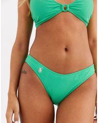 Polo Ralph Lauren Geribbeld Bikinibroekje Met V-vorm - Groen