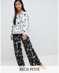ASOS Asos Design Petite Mono Face Print Double Breasted Shirt And Pants Pajama Set - White