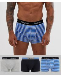 Pepe Jeans Mens Short Edson Trunk 3 Pack - Blue