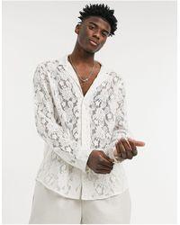ASOS Кружевная Рубашка Цвета Слоновой Кости Классического Кроя С Отложным Воротником - Белый