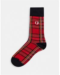 Fred Perry Check Socks - Red