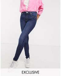 Monki Mocki Mid Waist Slim Jeans With Organic Cotton - Blue