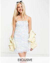 Daisy Street Платье Мини На Бретельках Со Сборками И Цветочным Принтом -голубой - Синий