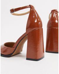 ASOS - Perri - Chaussures à talon haut avec bout carré - Fauve verni - Lyst