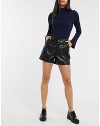 ONLY Leather Look Shorts With High Waist - Black