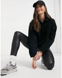 Weekday Lou Zip Up Sweatshirt - Black