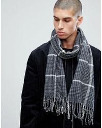 New Look - Scarf With Houndstooth Print In Black - Lyst