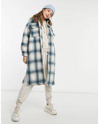 Pull&Bear - Длинная Куртка-рубашка Навыпуск В Голубую И Светло-коричневую Клетку -многоцветный - Lyst