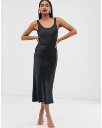 ASOS Черное Атласное Платье-комбинация Миди С Овальным Вырезом - Черный