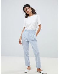 Mango - High Waist Summer Trousers In Blue And White Stripes - Lyst
