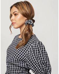 Miss Selfridge Blusa negra a cuadros con mangas abullonadas y cuello alto - Negro