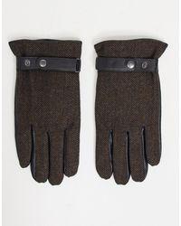 ASOS Коричневые Кожаные Перчатки Для Вождения С Узором «в Елочку» И Отделкой На Кончиках Пальцев Для Пользования Гаджетами - Коричневый