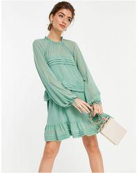 Forever New Шалфейно-зеленое Ярусное Платье Мини С Рукавами-фонариками -зеленый Цвет