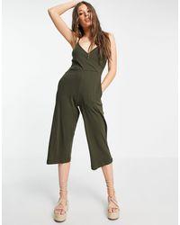 Brave Soul Iris Cami Strap Jumpsuit - Green