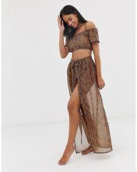 e71ec87fbc South Beach Leopard Print Maxi Tie Around Beach Skirt - Lyst