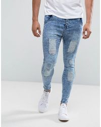 Illusive London - Super Skinny Jeans In Acid Wash Blue With Distressing - Lyst