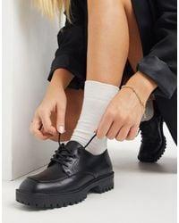 London Rebel Lace Up On Square Toe Flat Shoes - Black