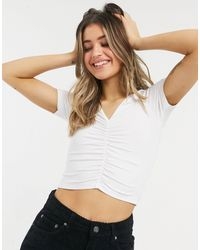 ASOS Ruched Front Top With V Neck - White
