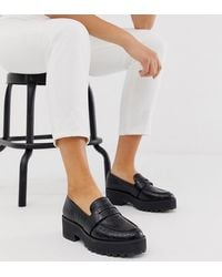 Monki Croc Print Faux Leather Loafers In Black