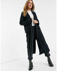 ASOS Abrigo largo negro con diseño suave