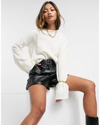 AX Paris Cropped Round Neck Sweater - White