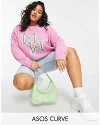 ASOS Asos Design Curve Oversize Jumper With Monogram - Pink