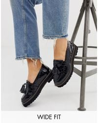ASOS Wide Fit Meze Chunky Fringed Leather Loafers - Black