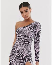 Missguided - Vestitino a fascia monospalla lilla zebrato - Lyst