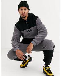 Fila Fila Bruno Sherpa Quarter-zip Hoodie Sweatshirt - Black