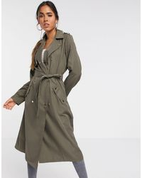 Vero Moda Trench Coat With Buttons Detail - Green