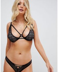Wolf & Whistle Lace Up Front Brief - Black