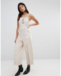Mango - Cropped Leather Look Jumpsuit - Lyst