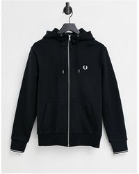 Fred Perry Zip Through Hooded Sweat - Black