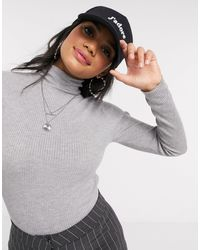 Brave Soul Trudy Roll Neck Ribbed Sweater - Grey
