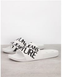 Versace Jeans Couture - Белые Шлепанцы С Логотипом -белый - Lyst