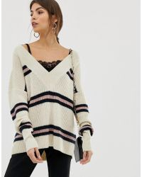 Y.A.S Chunky V Neck Stripe Sweater - Multicolor