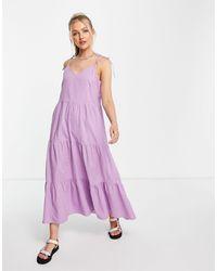 Pieces Ярусное Поплиновое Платье Макси Сиреневого Цвета -фиолетовый Цвет - Пурпурный