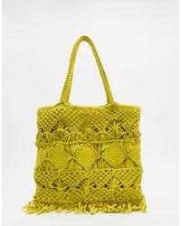 Whistles Crochet Tote Bag - Yellow