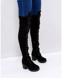 adc6686a550 Truffle Collection Elastic Flat Over Knee Boot in Black - Lyst