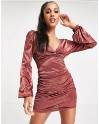 ASOS Long Sleeve Satin Ruched Mini Plunge Twist Front Dress - Red