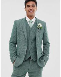 ASOS Chaqueta de traje muy ajustada verde de mezcla de lana con microcuadros