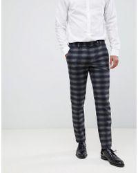 Jack & Jones Premium Suit Trouser In Slim Fit Check - Blue