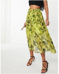 ASOS Midi Skirt With Gathered Detail - Multicolour
