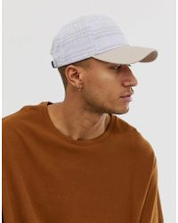 75a774644a2a23 ASOS - Gray Check Baseball Cap With Contrast Peak - Lyst