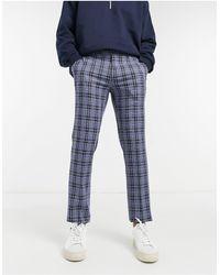 Original Penguin Pantaloni da abito slim a quadri - Blu