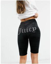 Juicy Couture - Черные Велюровые Шорты-леггинсы С Логотипом -черный - Lyst