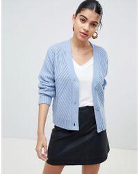 Fashion Union - Relaxed Cardigan In Rib Knit - Lyst