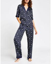 River Island Mongram Satin Pajama Pants Co-ord - Blue